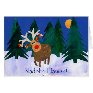Saludo Galés, reno, tarjeta de Navidad de la