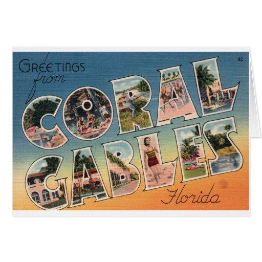 Saludo grande de la letra de Coral Gables la Flori Tarjeta