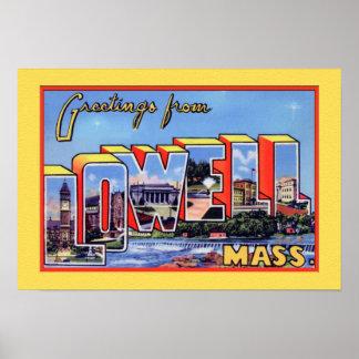 Saludo grande de la letra de Lowell Massachusetts Póster