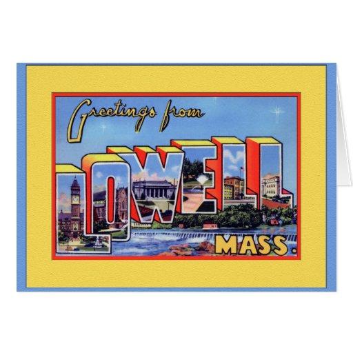 Saludo grande de la letra de Lowell Massachusetts Felicitación