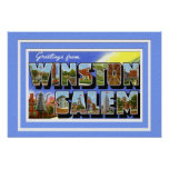 Saludo grande de la letra de Winston Salem Carolin Posters