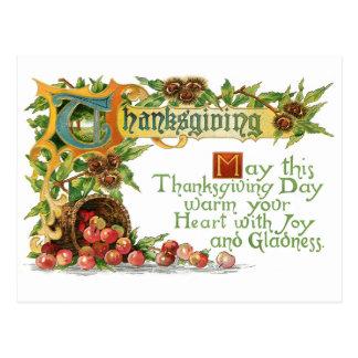 Saludo iluminado acción de gracias del vintage tarjetas postales