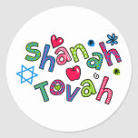 Saludo judío del texto del Año Nuevo de Shanah Pegatina Redonda