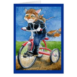 Saludo lindo de la cuadrilla de la bici del gato o tarjeton