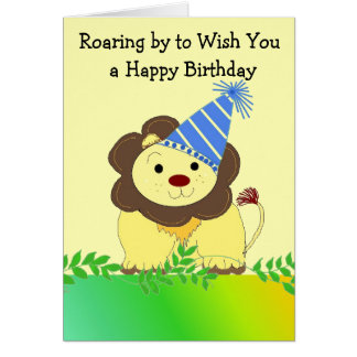 Saludo lindo del cumpleaños del león tarjeta de felicitación