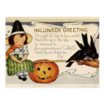 Saludo lindo del feliz Halloween del vintage Postales
