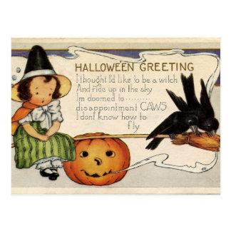 Saludo lindo del feliz Halloween del vintage Tarjetas Postales
