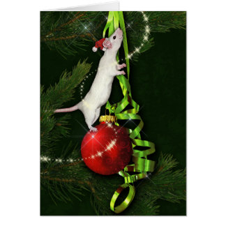 Saludo mágico del día de fiesta de la rata tarjeta de felicitación