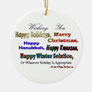 Saludo multi del día de fiesta adorno navideño redondo de cerámica