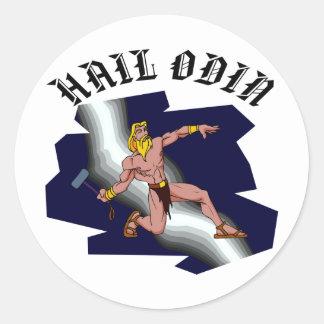 Saludo Odin del Thor Pegatina Redonda