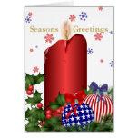 Saludo patriótico de la vela del navidad felicitaciones