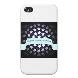 Saludo patriótico del cumpleaños iPhone 4 funda