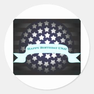 Saludo patriótico del cumpleaños pegatinas redondas