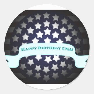 Saludo patriótico del cumpleaños etiquetas redondas