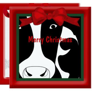 """Saludo plano de la vaca de las Felices Navidad Invitación 5.25"""" X 5.25"""""""