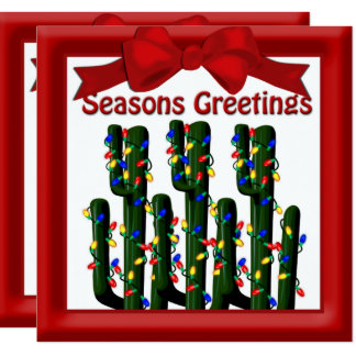 """Saludo plano del árbol del cactus de navidad del invitación 5.25"""" x 5.25"""""""