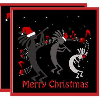 """Saludo plano del navidad de Kokopelli Invitación 5.25"""" X 5.25"""""""