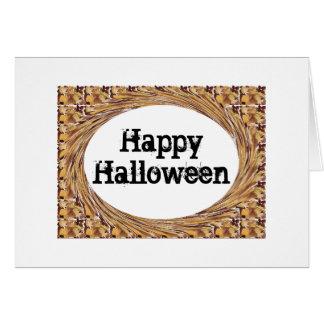 Saludo remolinado del feliz Halloween de las hojas Felicitaciones