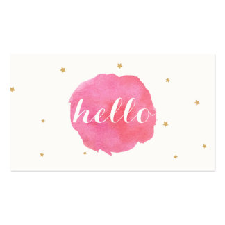 Saludo rosado lindo artístico de la acuarela hola tarjetas de visita