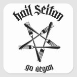 Saludo Seitan 1,1 (negro) Pegatinas Cuadradas Personalizadas