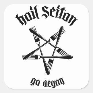 Saludo Seitan 1,1 (negro) Pegatina Cuadrada