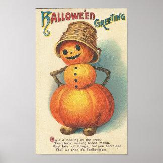 Saludo sonriente de Halloween de la calabaza Póster