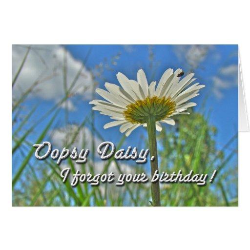 Saludo tardío del cumpleaños - margaritas florales tarjeta de felicitación