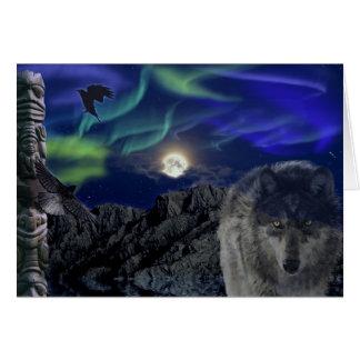 Saludo-tarjeta del lobo gris, de los cuervos y de tarjeta de felicitación