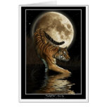 Saludo-tarjeta del TIGRE y de la luna de Bengala