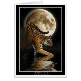 Saludo-tarjeta del TIGRE y de la luna de Bengala Tarjeta De Felicitación