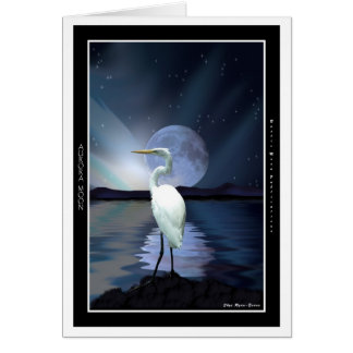Saludo-tarjetas blancas del Egret, de la aurora y  Tarjeta Pequeña