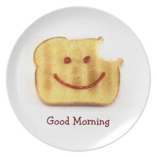 Saludo Toasty de la buena mañana Platos De Comidas