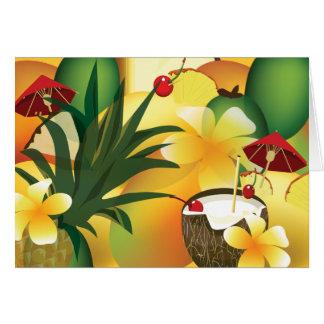 Saludo tropical hawaiano de la barra del tiki de tarjeta de felicitación