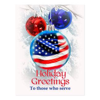 Saludos a las tropas militares, navidad del día de postal