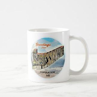 Saludos agotadores taza de café