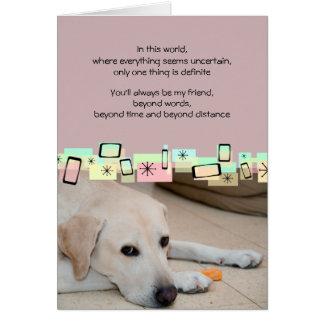Saludos amarillos del cumpleaños de Labrador Tarjeta Pequeña