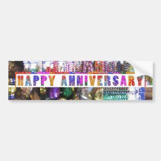 Saludos: Aniversario feliz de HappyANNIVERSARY Etiqueta De Parachoque