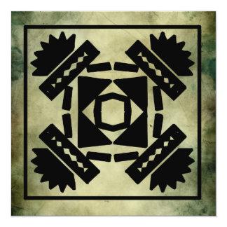 """saludos antiguos del cuadrado del símbolo invitación 5.25"""" x 5.25"""""""