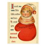 Saludos antiguos del navidad de la reproducción postal