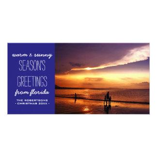 Saludos calientes y soleados del navidad - azul tarjetas personales con fotos
