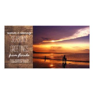 Saludos calientes y soleados del navidad - madera tarjeta fotografica personalizada