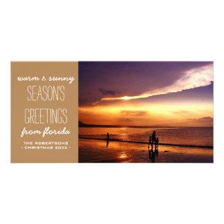 Saludos calientes y soleados del navidad - moreno tarjeta personal