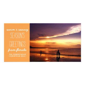 Saludos calientes y soleados del navidad - naranja tarjetas personales