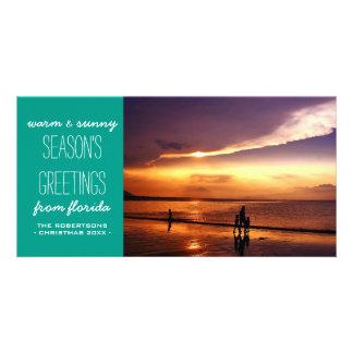 Saludos calientes y soleados del navidad - trullo tarjeta fotografica
