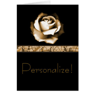 Saludos color de rosa de oro tarjeta de felicitación