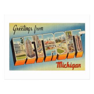 Saludos coloridos del vintage de Detroit Michigan Postales