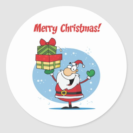 Saludos con Papá Noel Etiquetas Redondas