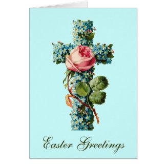 Saludos cruzados florales de Pascua Felicitación