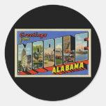 Saludos de Alabama móvil Pegatina Redonda