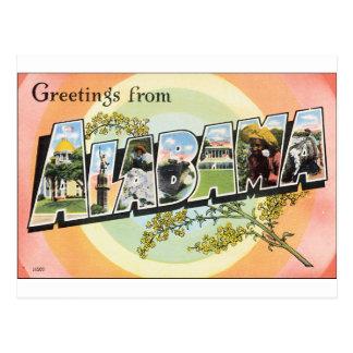 ¡Saludos de Alabama! Tarjeta Postal